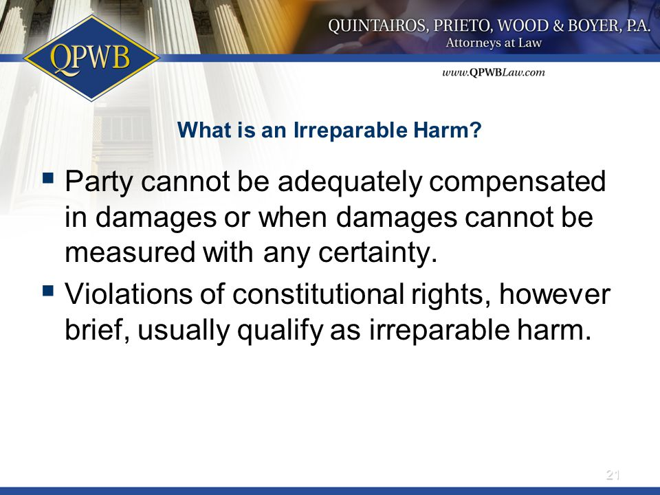 What is an Irreparable Harm.