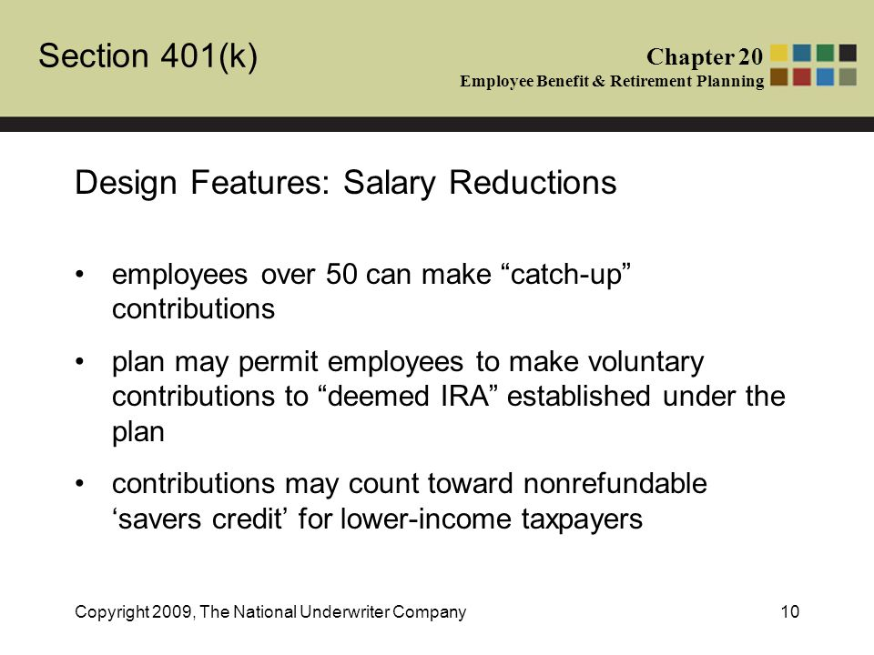 Section 401(k) Chapter 20 Employee Benefit & Retirement Planning Copyright 2009, The National Underwriter Company10 Design Features: Salary Reductions employees over 50 can make catch-up contributions plan may permit employees to make voluntary contributions to deemed IRA established under the plan contributions may count toward nonrefundable 'savers credit' for lower-income taxpayers