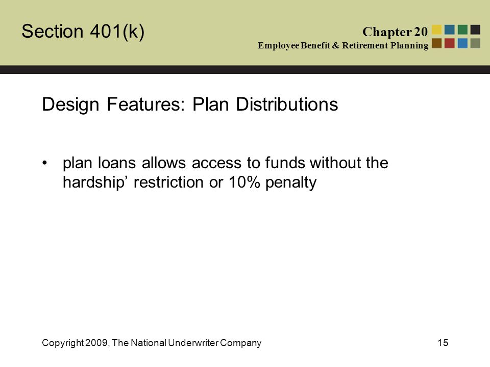 Section 401(k) Chapter 20 Employee Benefit & Retirement Planning Copyright 2009, The National Underwriter Company15 Design Features: Plan Distributions plan loans allows access to funds without the hardship' restriction or 10% penalty