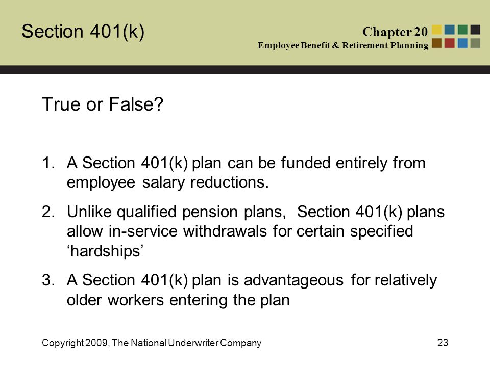 Section 401(k) Chapter 20 Employee Benefit & Retirement Planning Copyright 2009, The National Underwriter Company23 True or False.