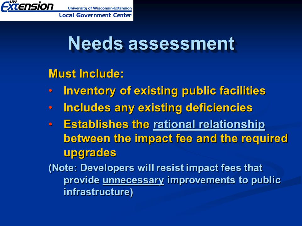 Must Include: Inventory of existing public facilitiesInventory of existing public facilities Includes any existing deficienciesIncludes any existing d