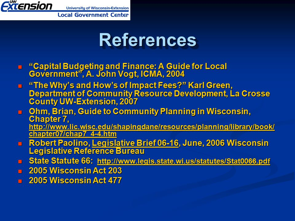 """ReferencesReferences """"Capital Budgeting and Finance: A Guide for Local Government"""", A. John Vogt, ICMA, 2004 """"Capital Budgeting and Finance: A Guide f"""