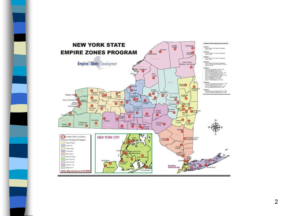 3 In its August 2007 report to the Empire State Development Corporation, the consulting firm ATKEARNEY described the Empire Zone Program as perhaps the best example of good economic development intentions gone wrong. Established in 1986 as Economic Development Zones Name changed to Empire Zones and benefits expanded in 2000 Currently 9,800 certified businesses employing more than 380,000 people in 82 Empire Zones statewide 85 zones statewide before the end of 2007 cost has jumped from $30 million in 2000 to a projected $558 million in 2007 Administered by the NYS Department of Economic Development doing business as Empire State Development