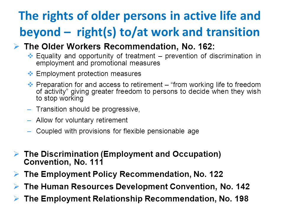  The Older Workers Recommendation, No.