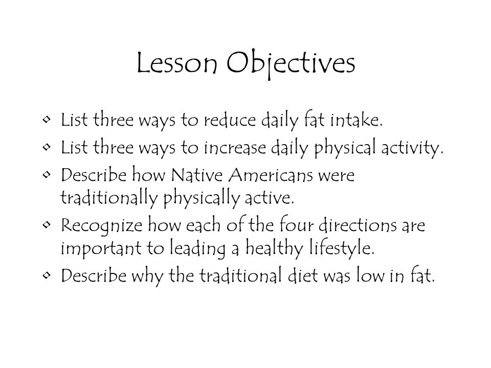 Lesson Objectives List three ways to reduce daily fat intake.