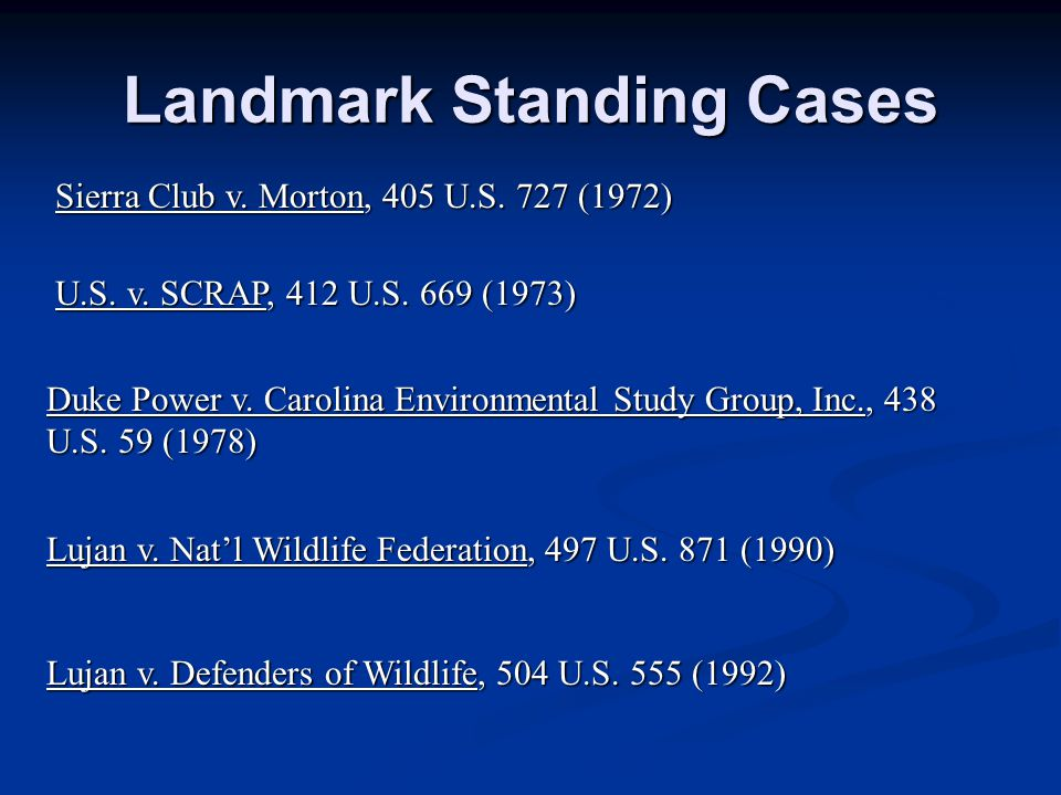 Landmark Standing Cases Sierra Club v. Morton, 405 U.S.