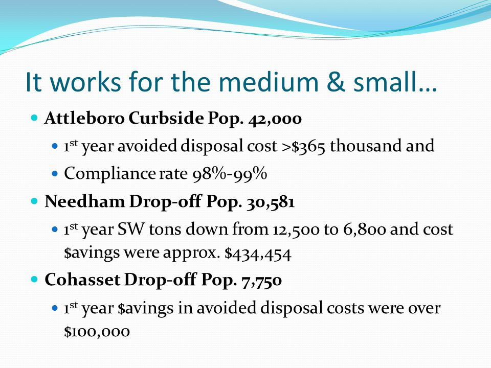 It works for the medium & small… Attleboro Curbside Pop.