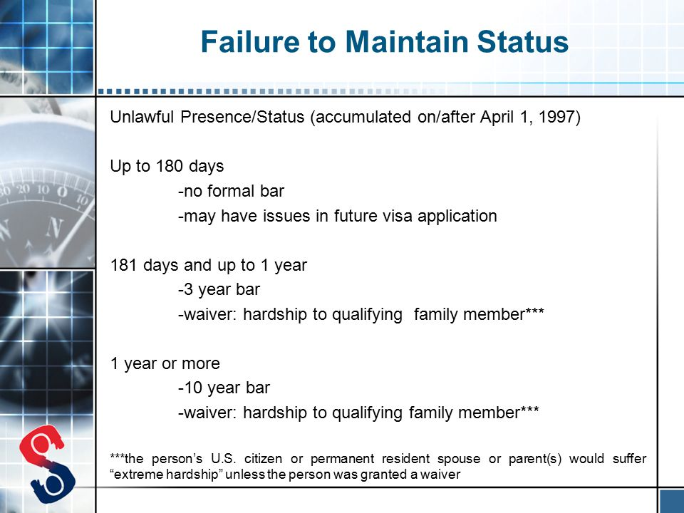 Failure to Maintain Status Unlawful Presence/Status (accumulated on/after April 1, 1997) Up to 180 days -no formal bar -may have issues in future visa application 181 days and up to 1 year -3 year bar -waiver: hardship to qualifying family member*** 1 year or more -10 year bar -waiver: hardship to qualifying family member*** ***the person's U.S.