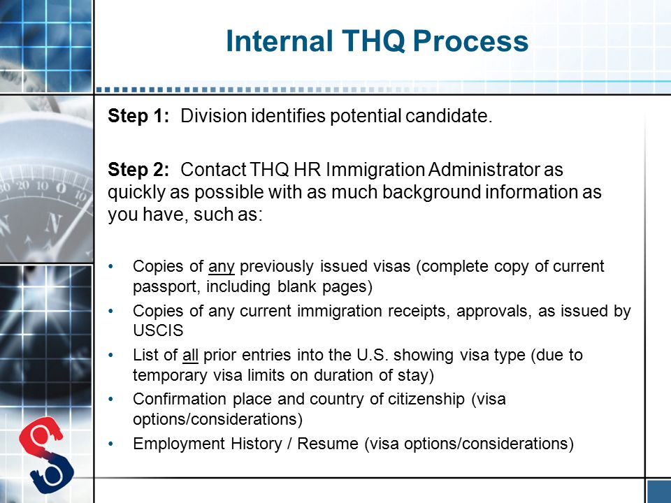Internal THQ Process Step 1: Division identifies potential candidate.