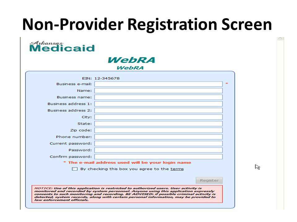 Non-Provider Registration Screen