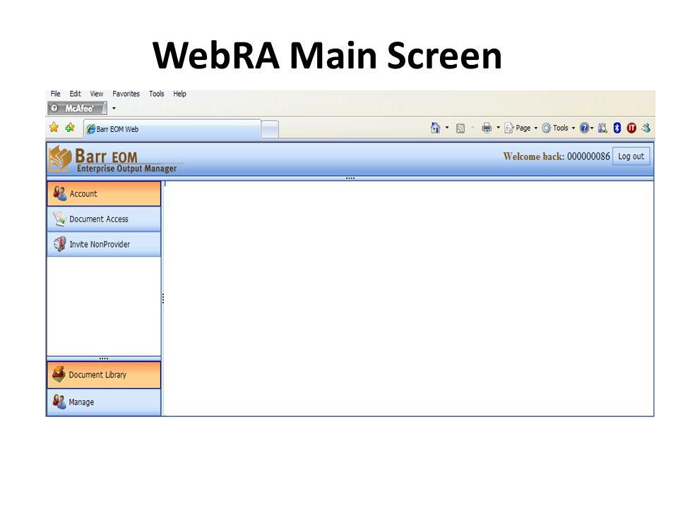 WebRA Main Screen