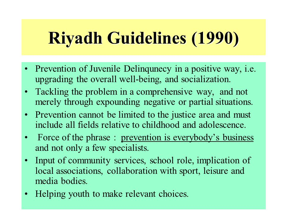 5 UN Standard Minimum Rules for the Administration of Juvenile Justice BR (1) Provide States with guidelines for elaborating specialized systems of justice for minors.