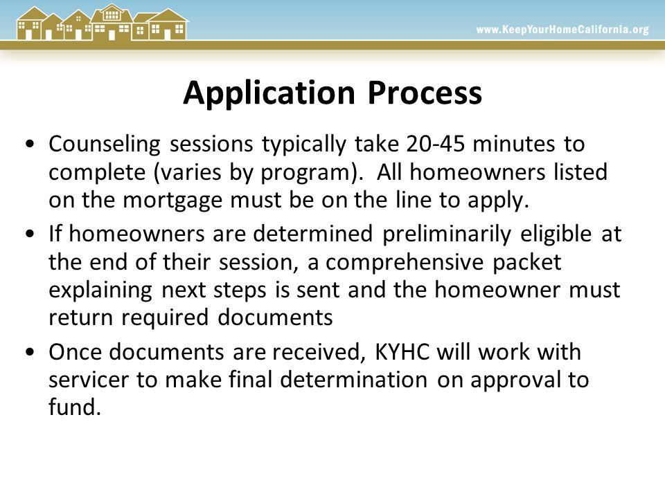 Application Process Counseling sessions typically take 20-45 minutes to complete (varies by program).