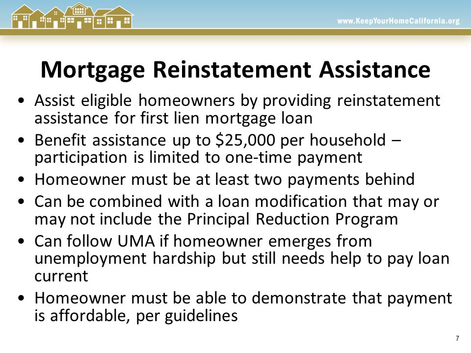 8 Principal Reduction Program Assist homeowners who have suffered a hardship, owe more than their home is worth and are unable to afford their current mortgage payment Benefit assistance up to $100,000 per household Help homeowner attain affordable monthly payment with goal of 31%-38% front-end ratio Loan to value ratio must fall within 105%-140% after modification Loan origination date on or before, January 1, 2010 - Designed to work in conjunction with standard HAMP and proprietary loan modification programs - Recast option available if affordability and loan to value requirements are met