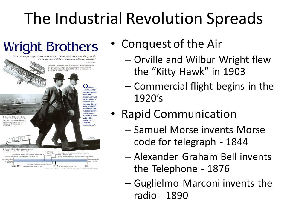 """Conquest of the Air – Orville and Wilbur Wright flew the """"Kitty Hawk"""" in 1903 – Commercial flight begins in the 1920's Rapid Communication – Samuel Mo"""