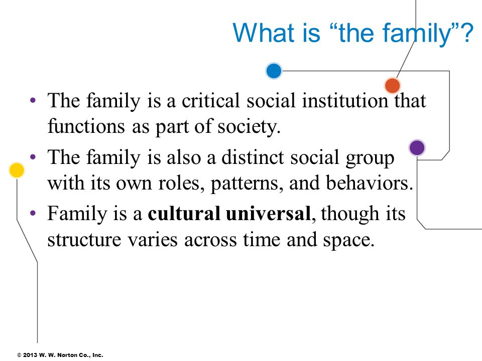 """© 2013 W. W. Norton Co., Inc. What is """"the family""""? The family is a critical social institution that functions as part of society. The family is also"""