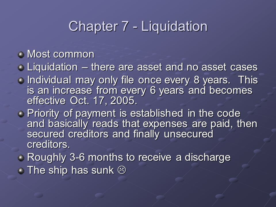 Chapter 7 - Liquidation Most common Liquidation – there are asset and no asset cases Individual may only file once every 8 years.