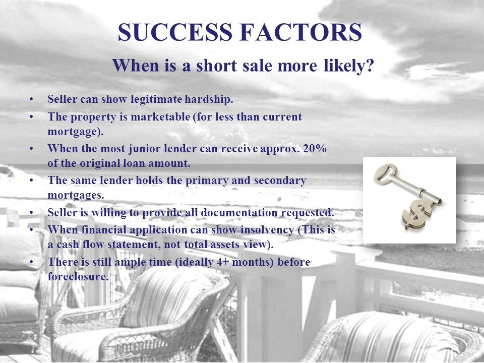 SUCCESS FACTORS When is a short sale highly unlikely.