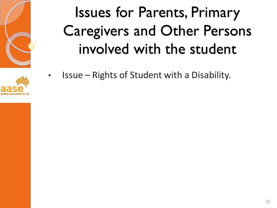 Issues for Parents, Primary Caregivers and Other Persons involved with the student Issue – Rights of Student with a Disability. 39