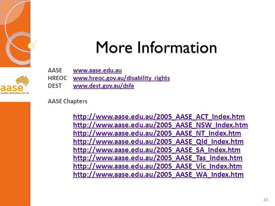 More Information AASEwww.aase.edu.auwww.aase.edu.au HREOCwww.hreoc.gov.au/disability_rightswww.hreoc.gov.au/disability_rights DESTwww.dest.gov.au/dsfewww.dest.gov.au/dsfe AASE Chapters http://www.aase.edu.au/2005_AASE_ACT_Index.htm http://www.aase.edu.au/2005_AASE_NSW_Index.htm http://www.aase.edu.au/2005_AASE_NT_Index.htm http://www.aase.edu.au/2005_AASE_Qld_Index.htm http://www.aase.edu.au/2005_AASE_SA_Index.htm http://www.aase.edu.au/2005_AASE_Tas_Index.htm http://www.aase.edu.au/2005_AASE_Vic_Index.htm http://www.aase.edu.au/2005_AASE_WA_Index.htm 48