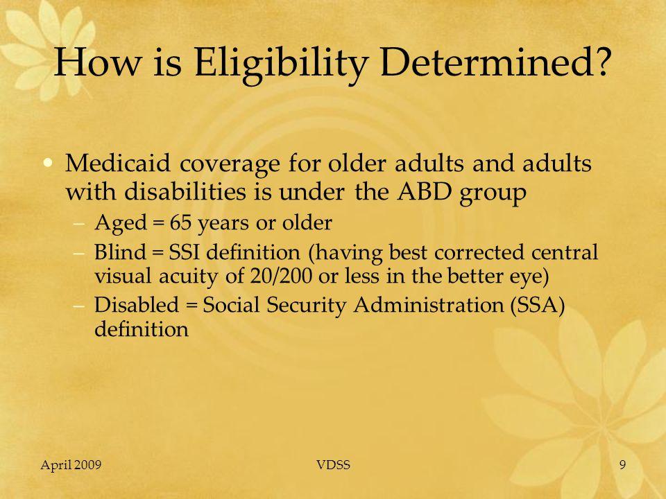 April 2009VDSS20 Medicaid & Medicare Prescription Drug Coverage Medicaid cannot cover prescriptions for individuals who are enrolled in/entitled to Medicare.