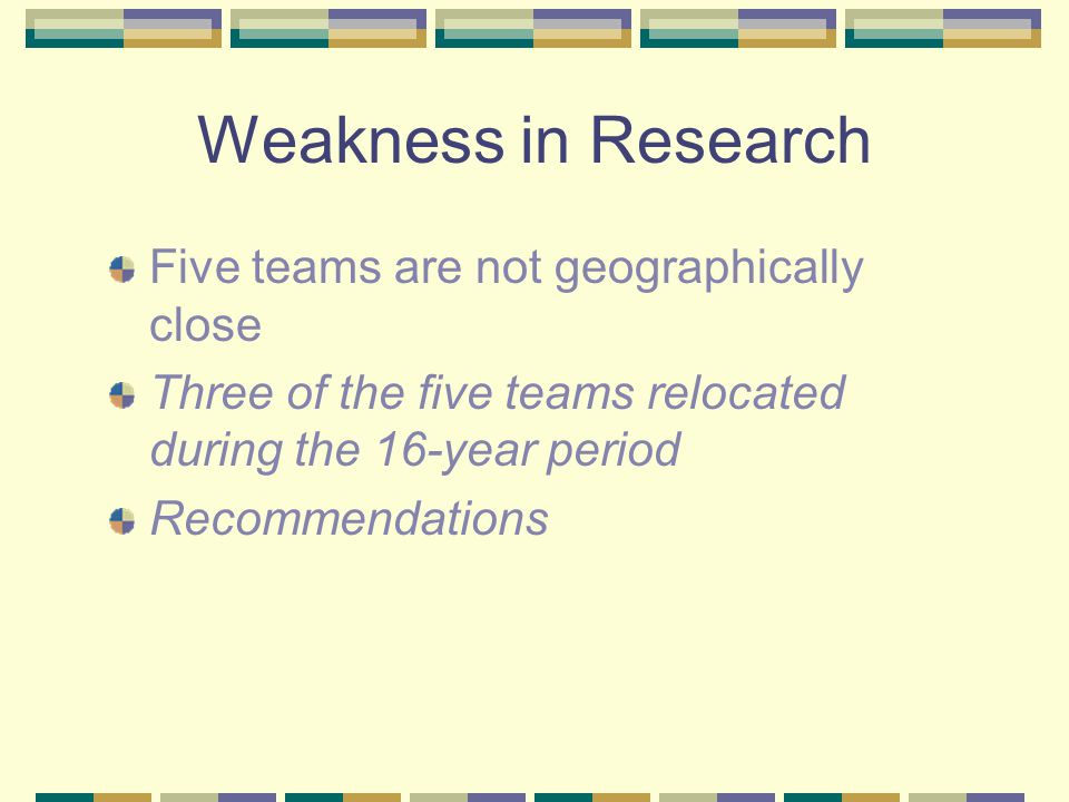 Weakness in Research Five teams are not geographically close Three of the five teams relocated during the 16-year period Recommendations