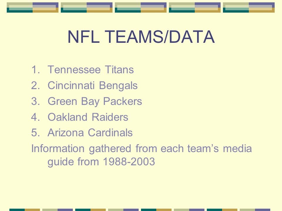NFL TEAMS/DATA 1.Tennessee Titans 2.Cincinnati Bengals 3.Green Bay Packers 4.Oakland Raiders 5.Arizona Cardinals Information gathered from each team's media guide from 1988-2003