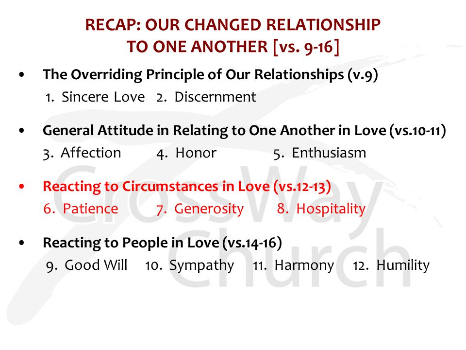 RECAP: OUR CHANGED RELATIONSHIP TO ONE ANOTHER [vs.