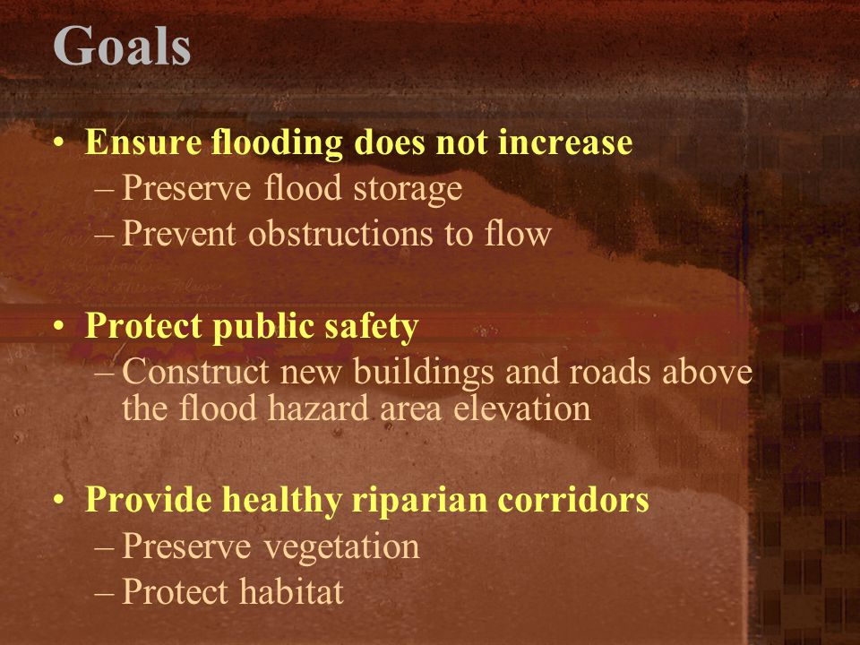 Goals Ensure flooding does not increase –Preserve flood storage –Prevent obstructions to flow Protect public safety –Construct new buildings and roads
