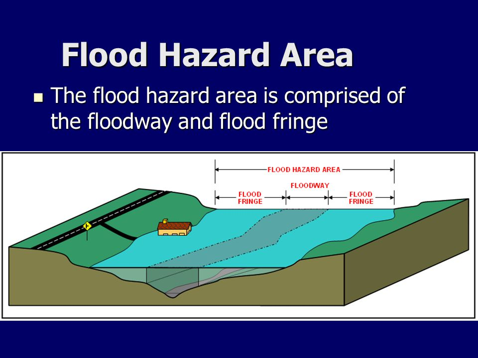 The flood hazard area is comprised of the floodway and flood fringe The flood hazard area is comprised of the floodway and flood fringe Flood Hazard A
