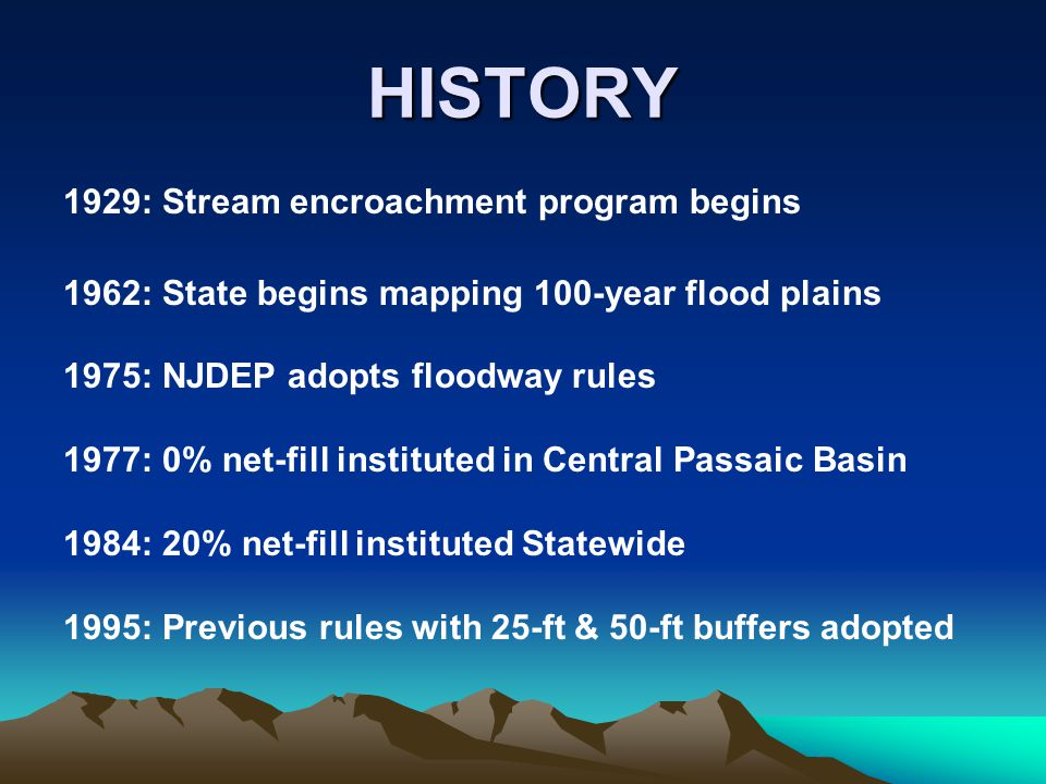 Coastal permits The list of exempt tidal waters was deleted so that all waters in NJ are regulated under the new FHA rules The list of exempt tidal waters was deleted so that all waters in NJ are regulated under the new FHA rules New special area created for the riparian zone in coastal zone management rules at N.J.A.C.