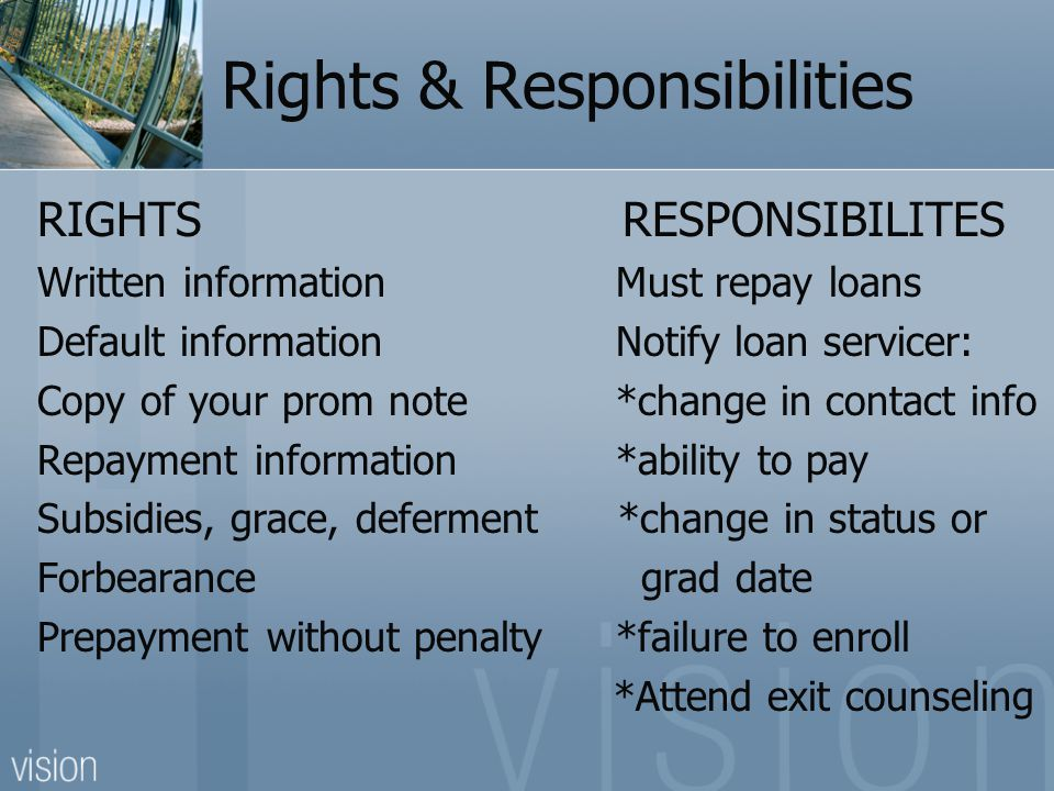 Rights & Responsibilities RIGHTS RESPONSIBILITES Written information Must repay loans Default information Notify loan servicer: Copy of your prom note