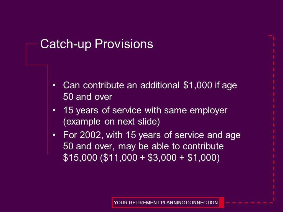 Catch-up Provisions Can contribute an additional $1,000 if age 50 and over 15 years of service with same employer (example on next slide) For 2002, wi