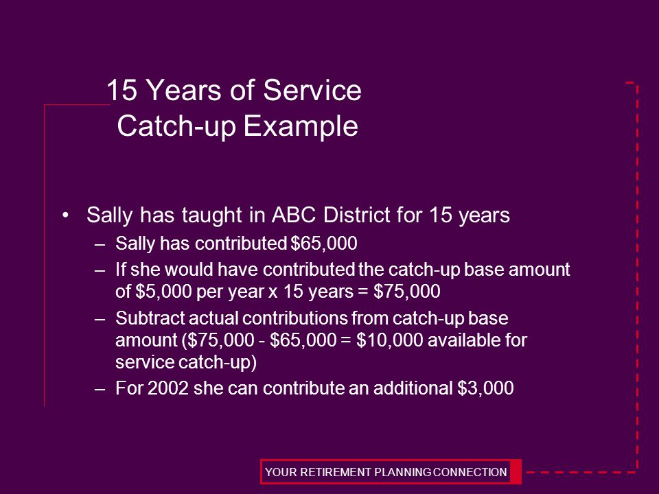 15 Years of Service Catch-up Example Sally has taught in ABC District for 15 years –Sally has contributed $65,000 –If she would have contributed the c