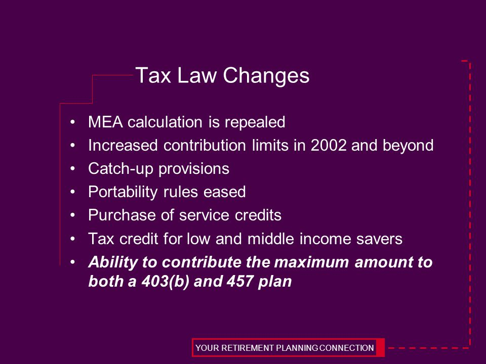 Tax Law Changes MEA calculation is repealed Increased contribution limits in 2002 and beyond Catch-up provisions Portability rules eased Purchase of service credits Tax credit for low and middle income savers Ability to contribute the maximum amount to both a 403(b) and 457 plan YOUR RETIREMENT PLANNING CONNECTION