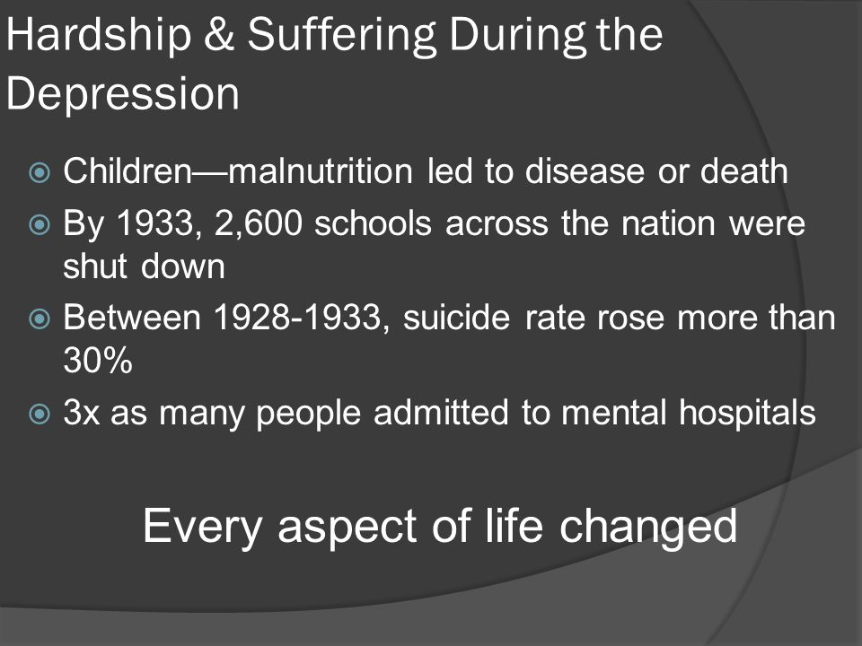 Hardship & Suffering During the Depression  Children—malnutrition led to disease or death  By 1933, 2,600 schools across the nation were shut down 