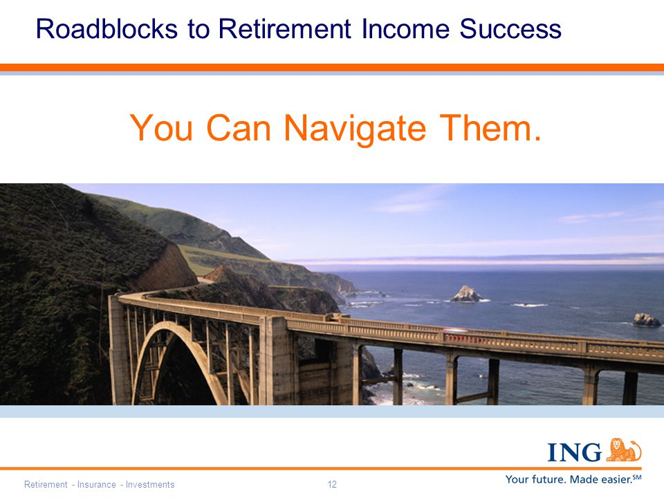 Retirement - Insurance - Investments12 Roadblocks to Retirement Income Success You Can Navigate Them.