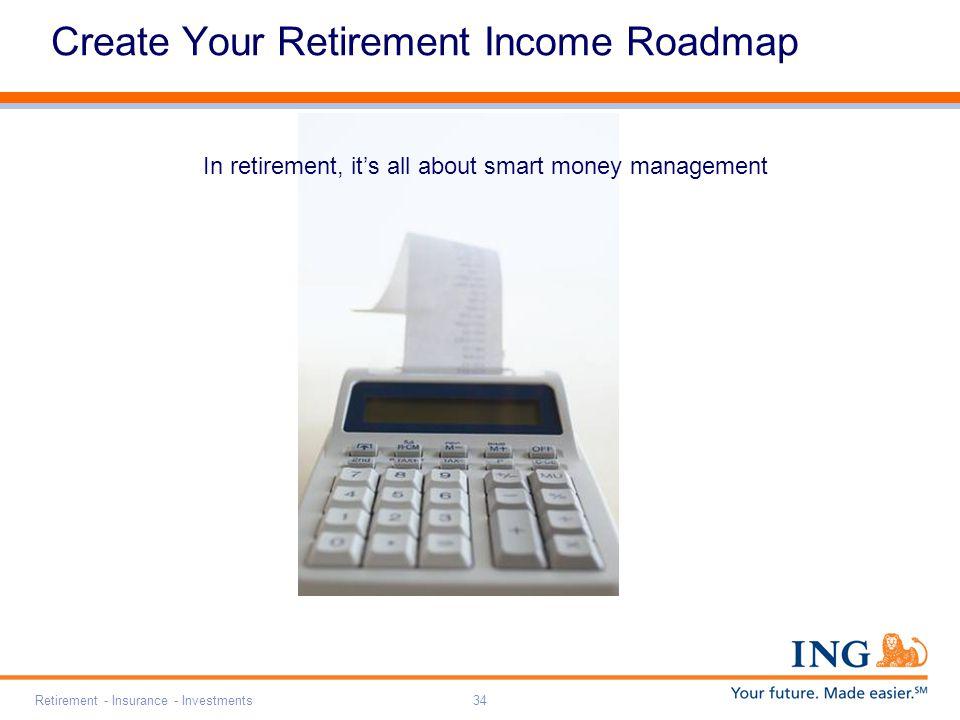 Retirement - Insurance - Investments34 Create Your Retirement Income Roadmap In retirement, it's all about smart money management