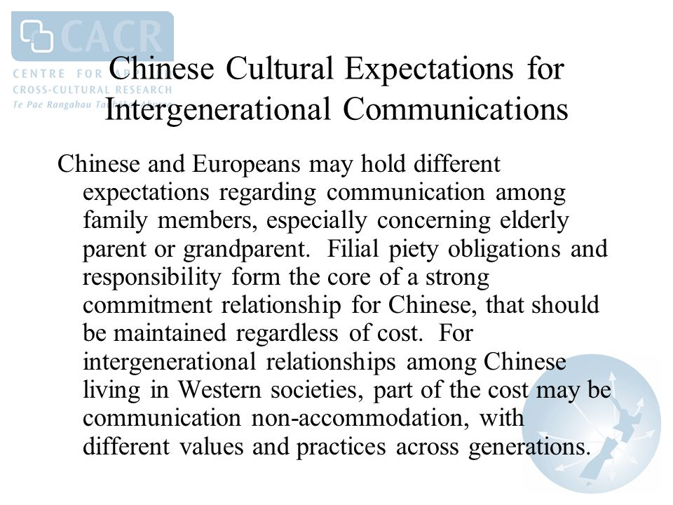Chinese Cultural Expectations for Intergenerational Communications Chinese and Europeans may hold different expectations regarding communication among family members, especially concerning elderly parent or grandparent.