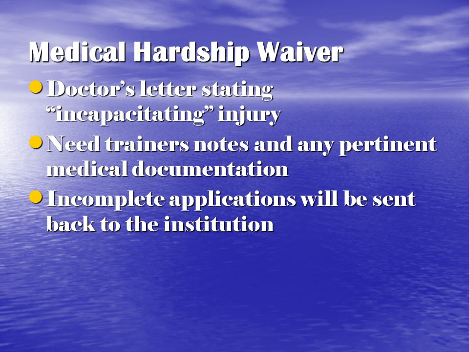 Medical Hardship Waivers You may submit forms at anytime- You don't have to wait You may submit forms at anytime- You don't have to wait Include all final statistics for the student- athlete; individual & team Include all final statistics for the student- athlete; individual & team Weekly Participation Forms are not acceptable Weekly Participation Forms are not acceptable The conference office will only accept official stats The conference office will only accept official stats Check the statistics- Does it reflect what you know Check the statistics- Does it reflect what you know