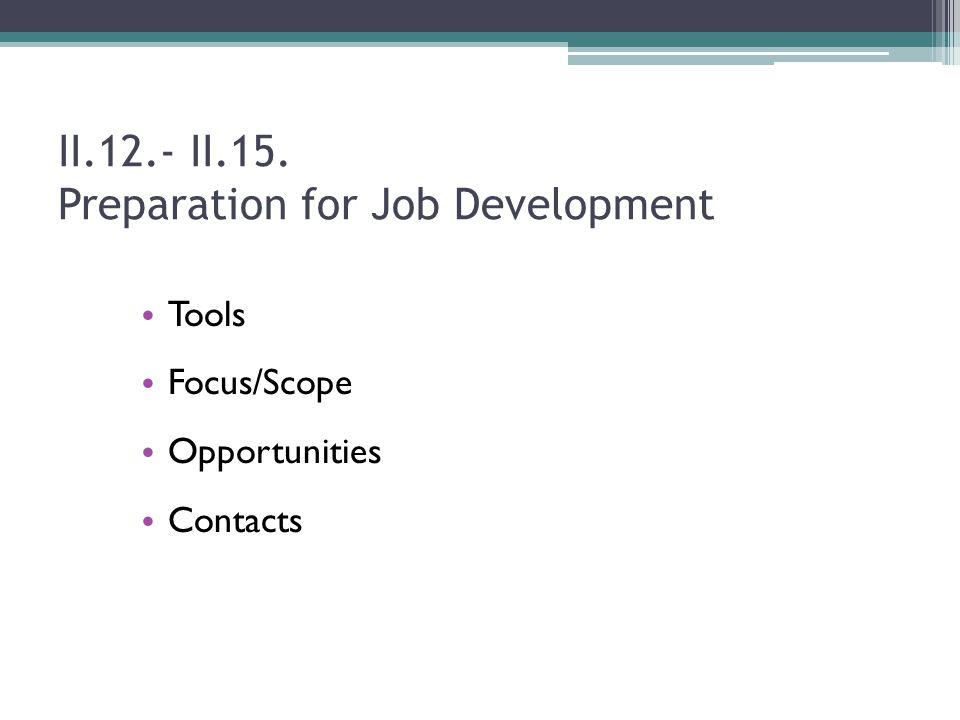 II.12.- II.15. Preparation for Job Development Tools Focus/Scope Opportunities Contacts