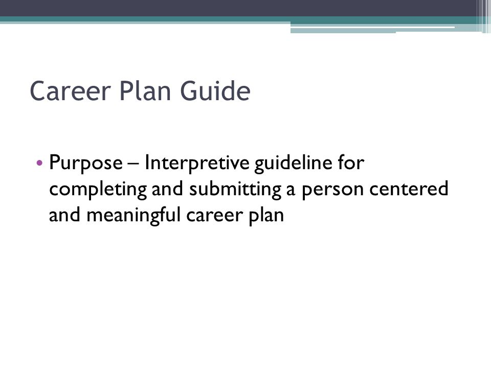 Career Plan Guide Purpose – Interpretive guideline for completing and submitting a person centered and meaningful career plan