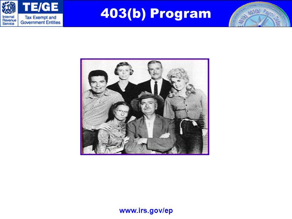 403(b) Program www.irs.gov/ep Ya'll Come Back Now