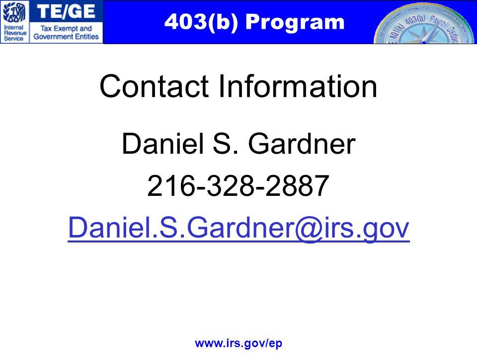 403(b) Program www.irs.gov/ep Daniel S.