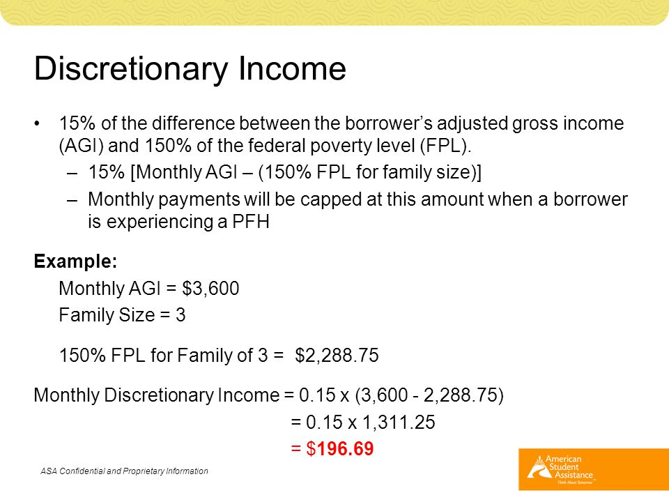 Discretionary Income 15% of the difference between the borrower's adjusted gross income (AGI) and 150% of the federal poverty level (FPL). –15% [Month