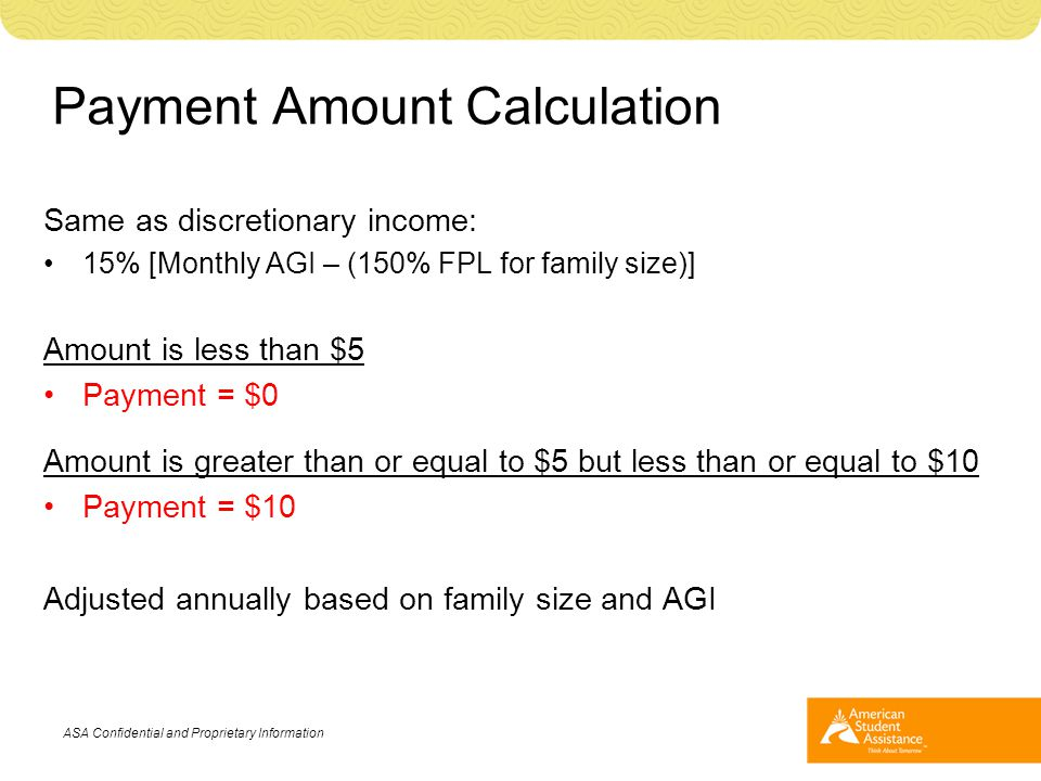 Payment Amount Calculation Same as discretionary income: 15% [Monthly AGI – (150% FPL for family size)] Amount is less than $5 Payment = $0 Amount is
