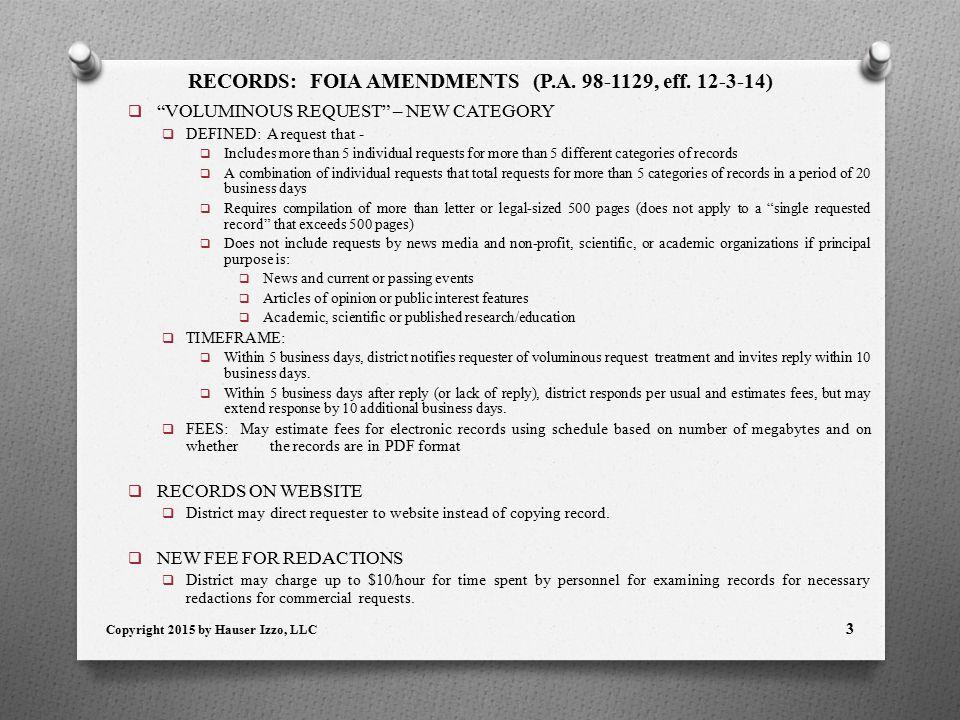 RECORDS: FOIA AMENDMENTS (P.A. 98-1129, eff.