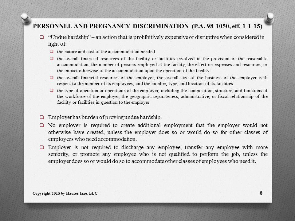PERSONNEL AND PREGNANCY DISCRIMINATION (P.A. 98-1050, eff.