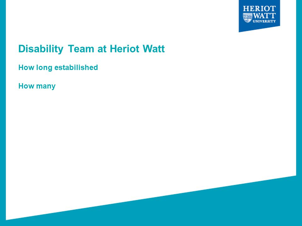 Disability Team at Heriot Watt How long estabilished How many