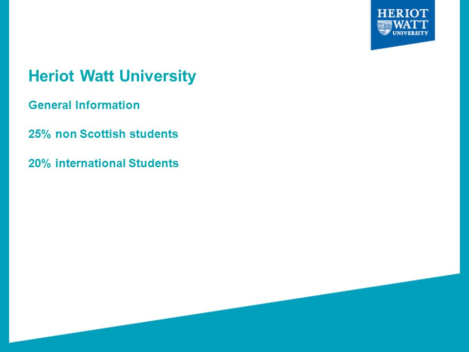 Heriot Watt University General Information 25% non Scottish students 20% international Students